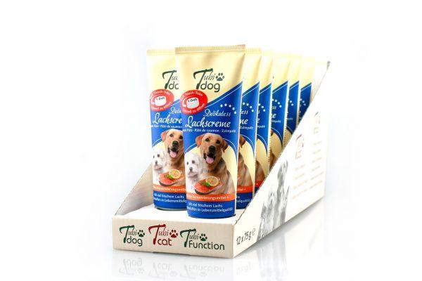 TubiDog Lachscreme für Hunde im Display